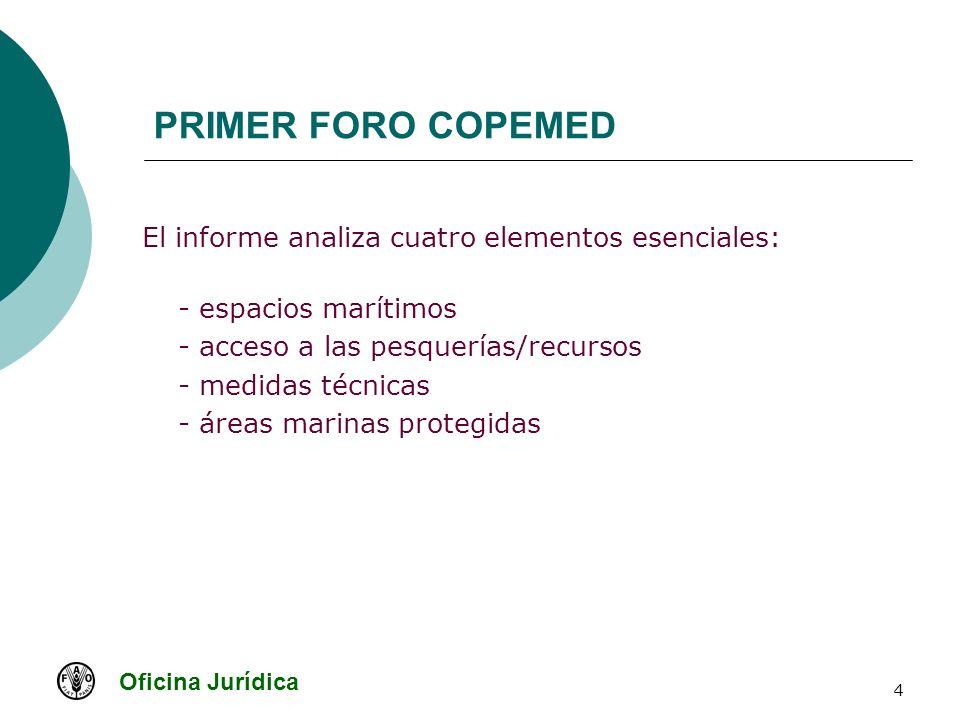 Oficina Jurídica 4 PRIMER FORO COPEMED El informe analiza cuatro elementos esenciales: - espacios marítimos - acceso a las pesquerías/recursos - medid