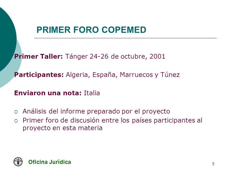 Oficina Jurídica 5 PRIMER FORO COPEMED Primer Taller: Tánger 24-26 de octubre, 2001 Participantes: Algeria, España, Marruecos y Túnez Enviaron una not