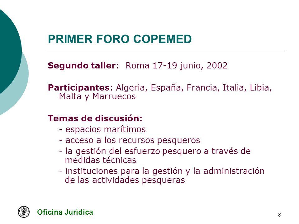 Oficina Jurídica 8 PRIMER FORO COPEMED Segundo taller: Roma 17-19 junio, 2002 Participantes: Algeria, España, Francia, Italia, Libia, Malta y Marrueco