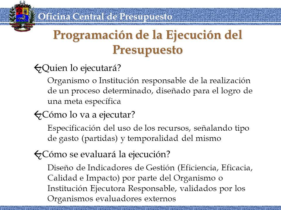 OCEPRE Oficina Central de Presupuesto CORDIPLANOCEPRE Programación de la Ejecución del Presupuesto ß¿Cómo se evaluará la ejecución.