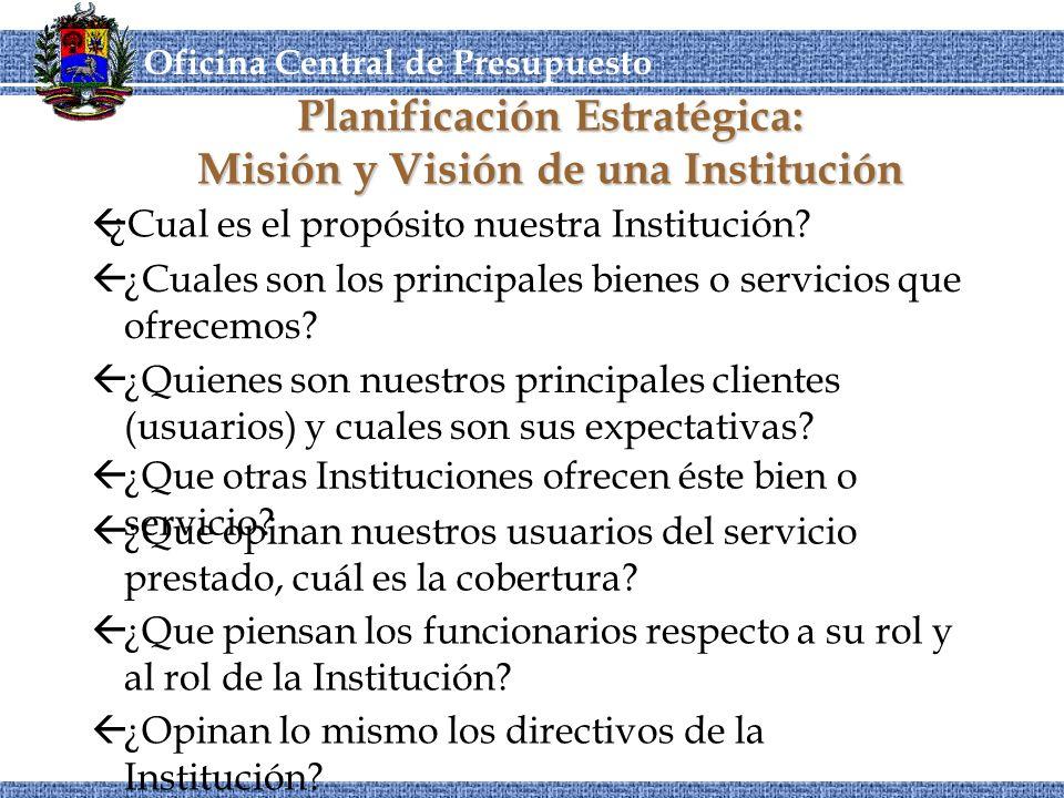 OCEPRE Oficina Central de Presupuesto CORDIPLANOCEPRE Planificación Estratégica: Misión y Visión de una Institución ß¿Opinan lo mismo los directivos de la Institución.
