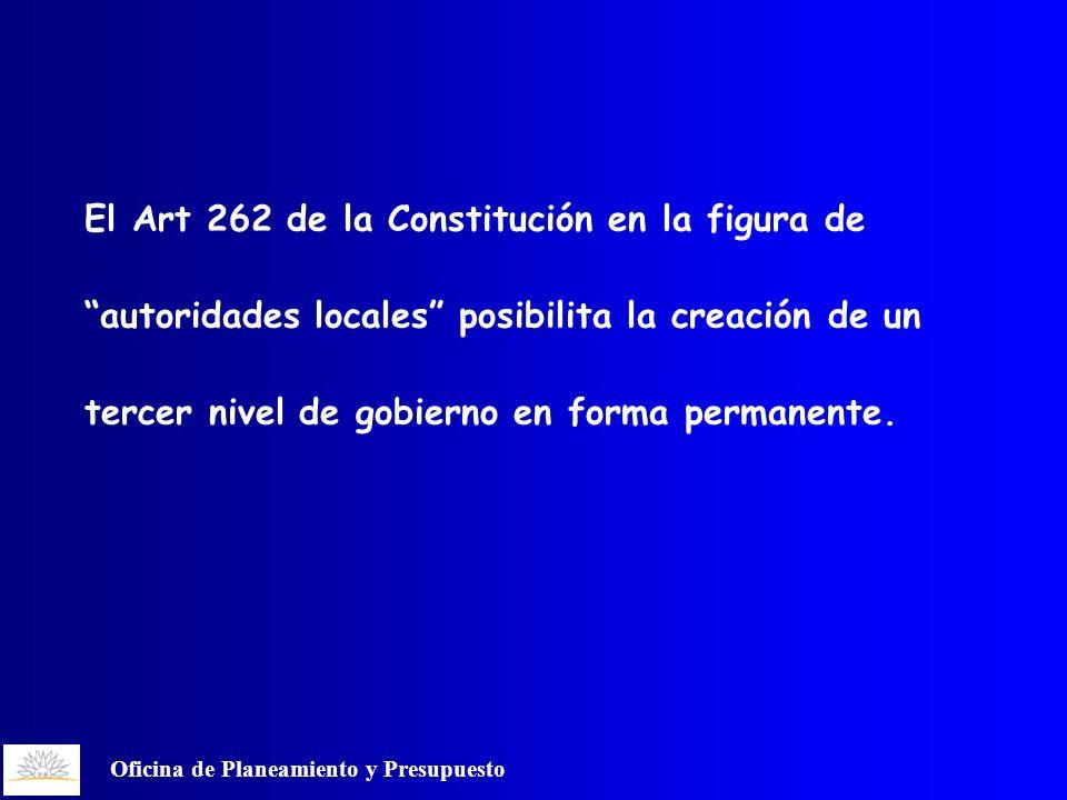 Oficina de Planeamiento y Presupuesto El Art 262 de la Constitución en la figura de autoridades locales posibilita la creación de un tercer nivel de gobierno en forma permanente.