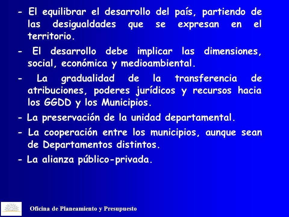 Oficina de Planeamiento y Presupuesto - El equilibrar el desarrollo del país, partiendo de las desigualdades que se expresan en el territorio.