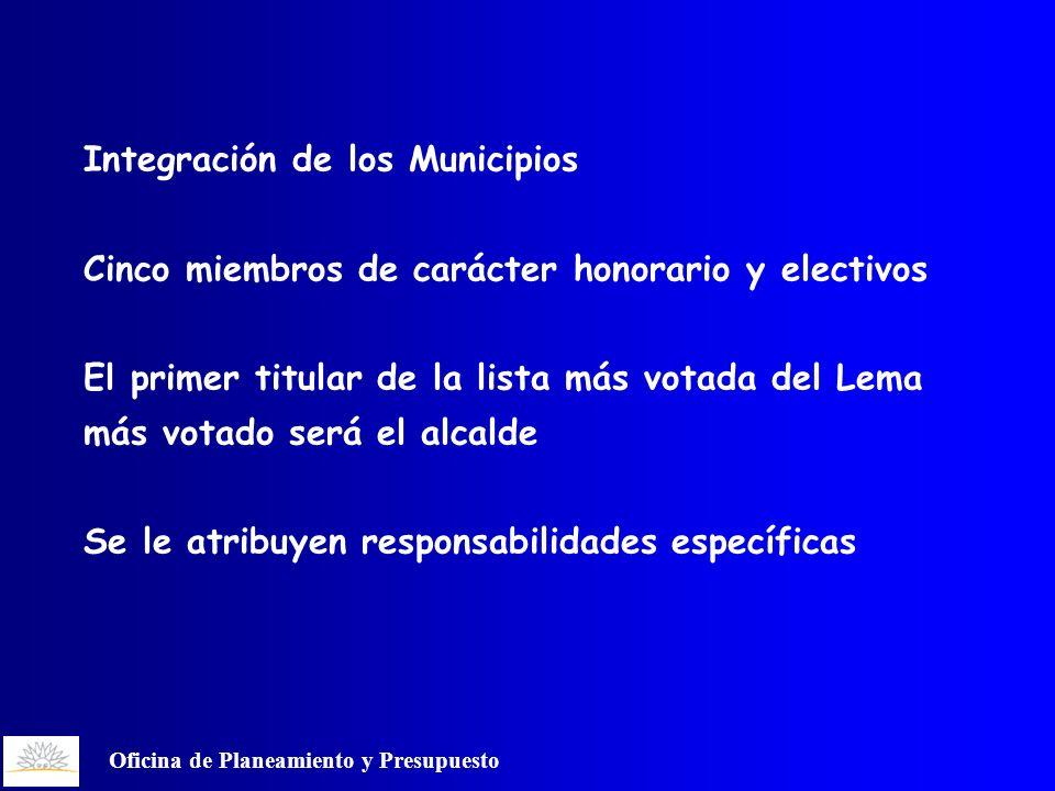 Oficina de Planeamiento y Presupuesto Integración de los Municipios Cinco miembros de carácter honorario y electivos El primer titular de la lista más votada del Lema más votado será el alcalde Se le atribuyen responsabilidades específicas