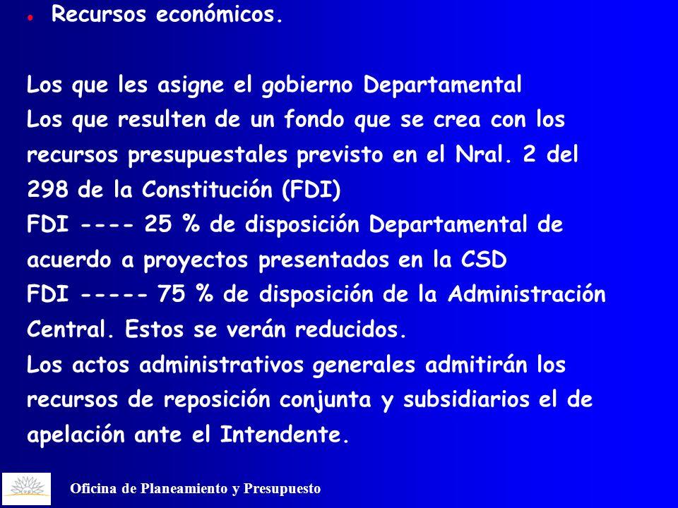Oficina de Planeamiento y Presupuesto Recursos económicos.