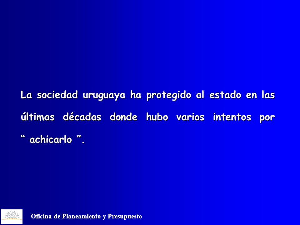 Oficina de Planeamiento y Presupuesto La sociedad uruguaya ha protegido al estado en las últimas décadas donde hubo varios intentos por achicarlo.