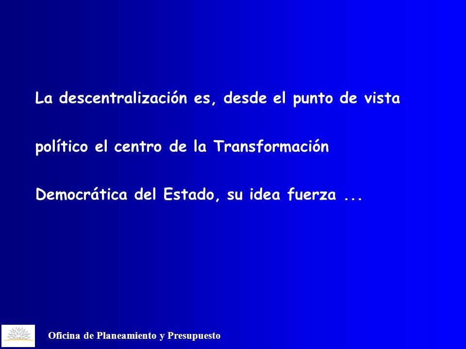 Oficina de Planeamiento y Presupuesto La descentralización es, desde el punto de vista político el centro de la Transformación Democrática del Estado, su idea fuerza...