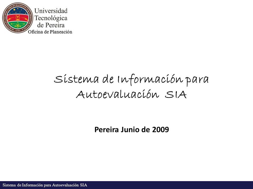 Oficina de Planeación Sistema de Información para Autoevaluación SIA Pereira Junio de 2009