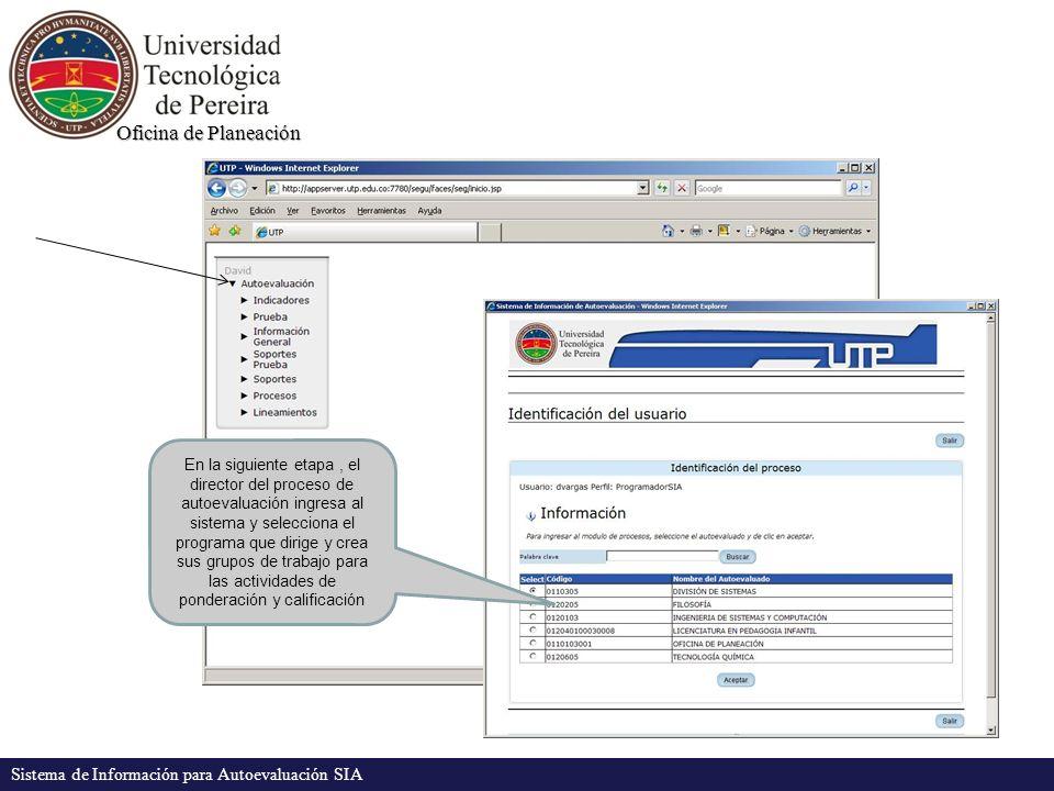 Oficina de Planeación Sistema de Información para Autoevaluación SIA En la siguiente etapa, el director del proceso de autoevaluación ingresa al sistema y selecciona el programa que dirige y crea sus grupos de trabajo para las actividades de ponderación y calificación