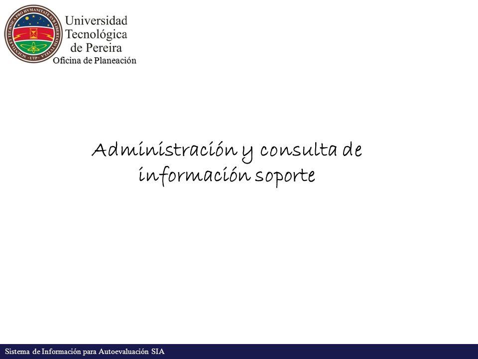 Oficina de Planeación Sistema de Información para Autoevaluación SIA Administración y consulta de información soporte
