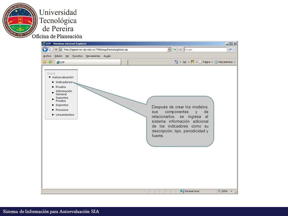 Oficina de Planeación Sistema de Información para Autoevaluación SIA Después de crear los modelos, sus componentes y de relacionarlos, se ingresa al sistema información adicional de los indicadores como su descripción, tipo, periodicidad y fuente.
