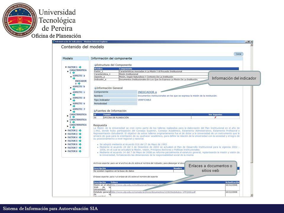 Oficina de Planeación Sistema de Información para Autoevaluación SIA El sistema permite, a las fuentes de información, agregar archivos (doc, xls, pdf), enlaces a otros sitios Web, y resultados de encuesta, que sirven como soporte a los indicadores DISPONIBILIDAD DE LA INFORMACIÓN Toda esta información que se adiciona al sistema (documentos, enlaces, etc.) puede ser consultada en línea en cualquier momento por los usuarios usando la opción del menú Información general y descargada a su computador si así lo requiere.
