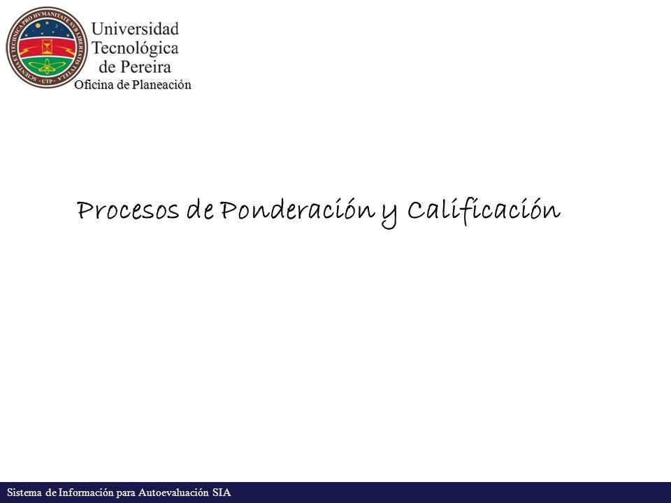Oficina de Planeación Sistema de Información para Autoevaluación SIA Procesos de Ponderación y Calificación