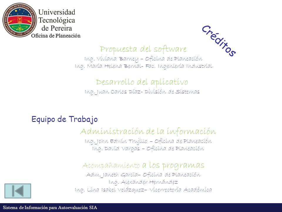 Oficina de Planeación Sistema de Información para Autoevaluación SIA Créditos Propuesta del software Ing. Viviana Barney – Oficina de Planeación Ing.