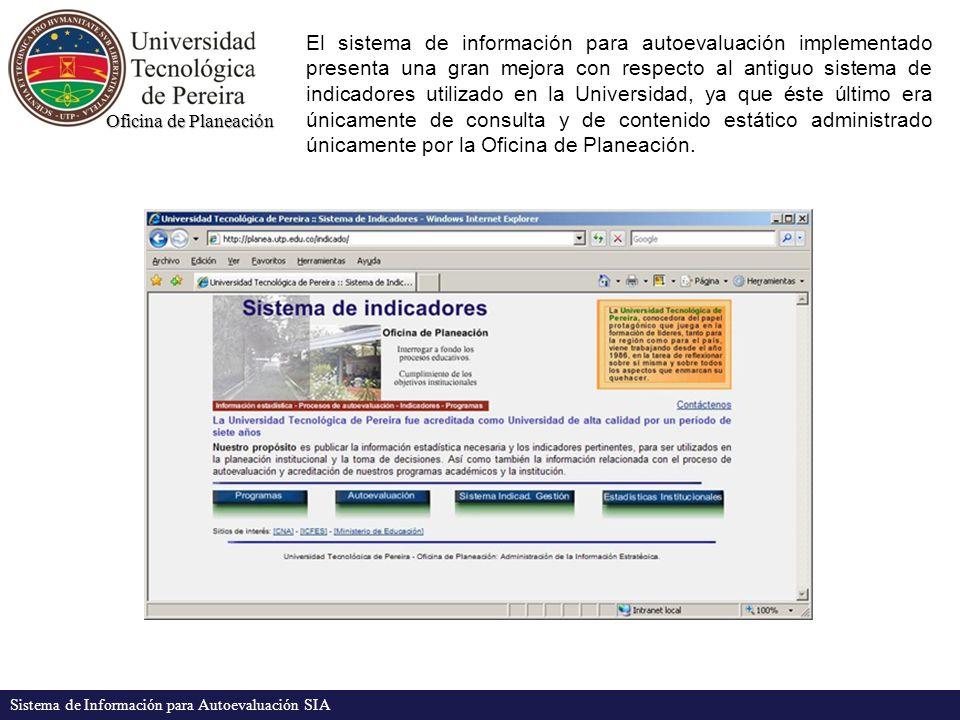 Oficina de Planeación Sistema de Información para Autoevaluación SIA El sistema de información para autoevaluación implementado presenta una gran mejo