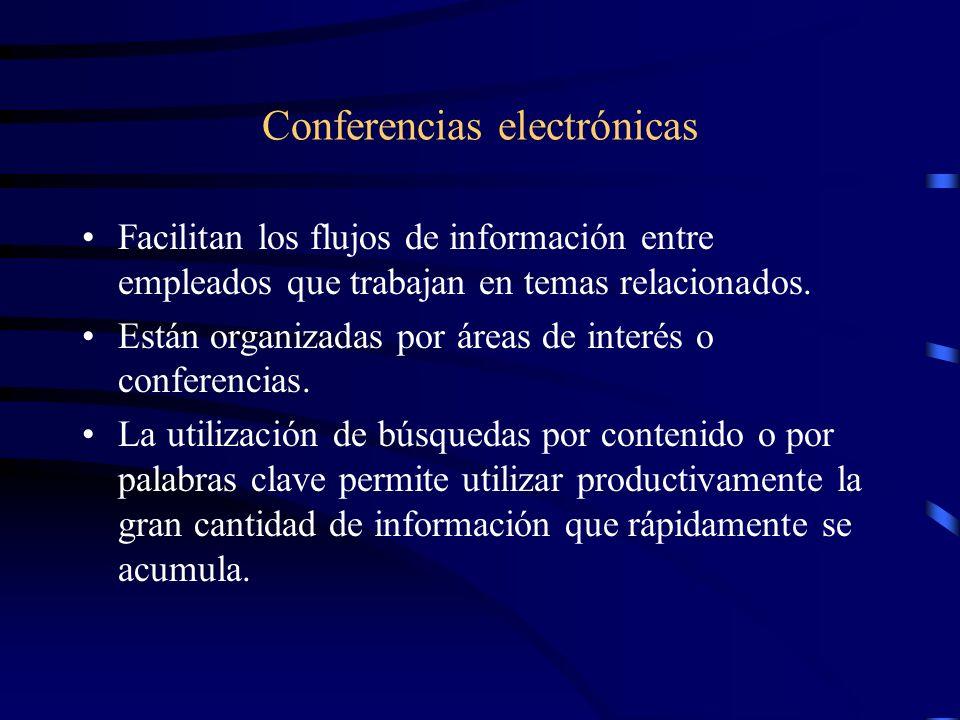 Conferencias electrónicas Facilitan los flujos de información entre empleados que trabajan en temas relacionados. Están organizadas por áreas de inter