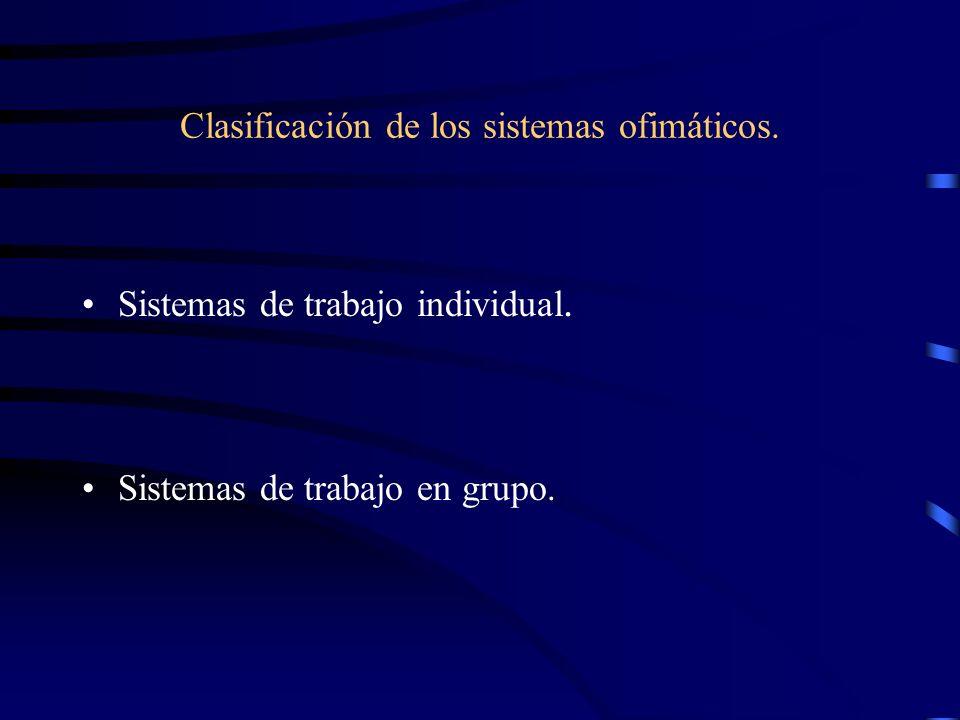 Clasificación de los sistemas ofimáticos. Sistemas de trabajo individual. Sistemas de trabajo en grupo.