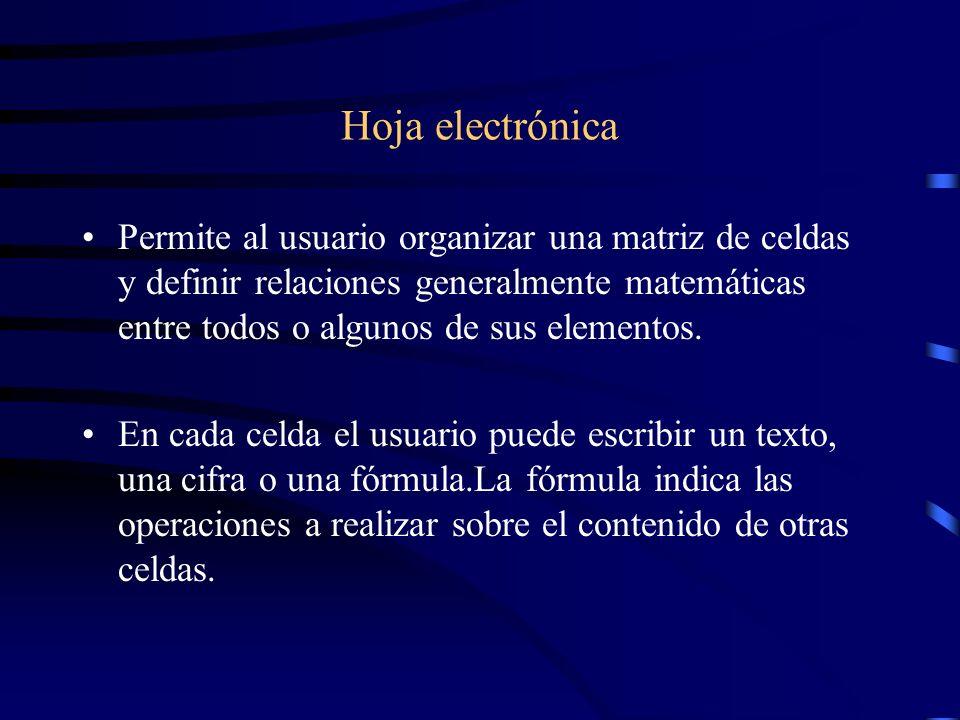 Hoja electrónica Permite al usuario organizar una matriz de celdas y definir relaciones generalmente matemáticas entre todos o algunos de sus elemento