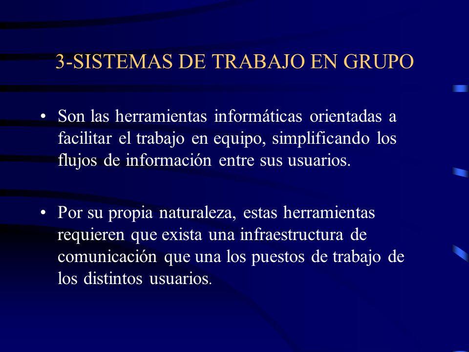 3-SISTEMAS DE TRABAJO EN GRUPO Son las herramientas informáticas orientadas a facilitar el trabajo en equipo, simplificando los flujos de información