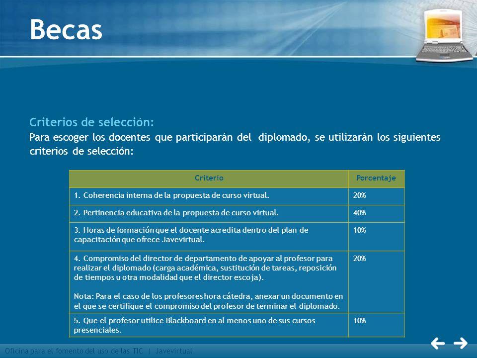 Oficina para el fomento del uso de las TIC | Javevirtual Becas Criterios de selección: Para escoger los docentes que participarán del diplomado, se ut
