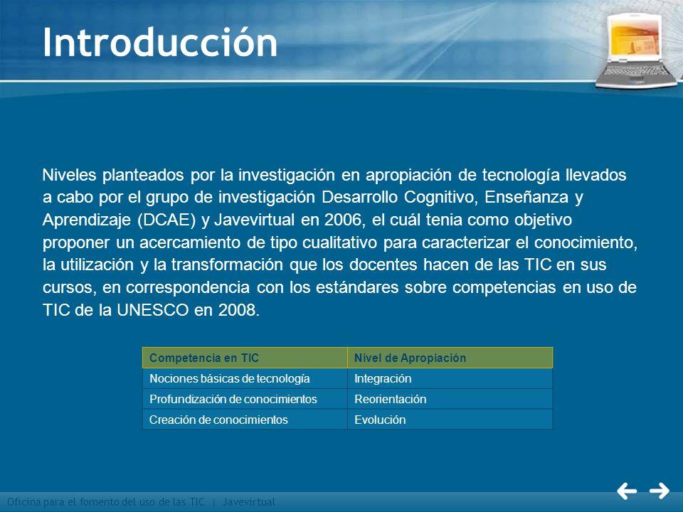 Oficina para el fomento del uso de las TIC | Javevirtual Introducción Niveles planteados por la investigación en apropiación de tecnología llevados a