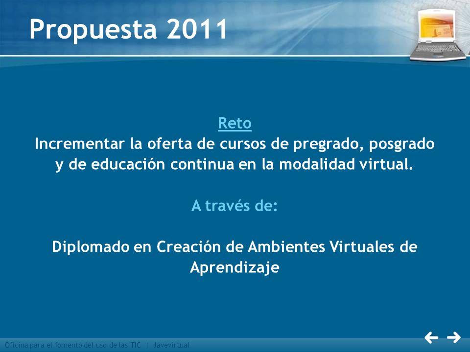 Oficina para el fomento del uso de las TIC | Javevirtual Propuesta 2011 Reto Incrementar la oferta de cursos de pregrado, posgrado y de educación cont