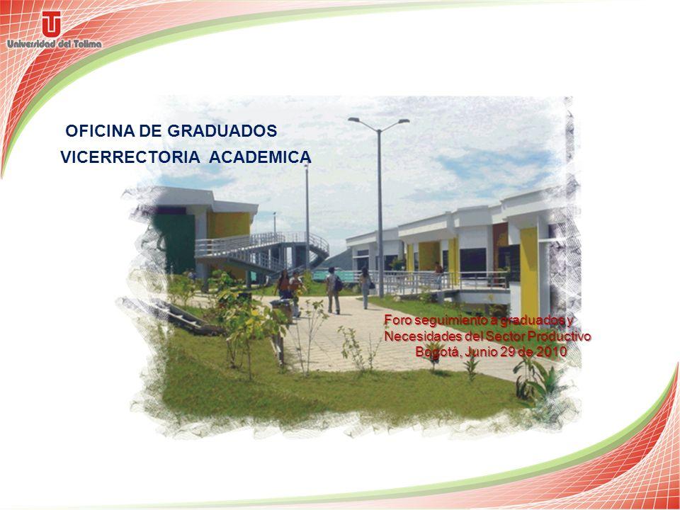 OFICINA DE GRADUADOS Foro seguimiento a graduados y Necesidades del Sector Productivo Bogotá, Junio 29 de 2010 VICERRECTORIA ACADEMICA