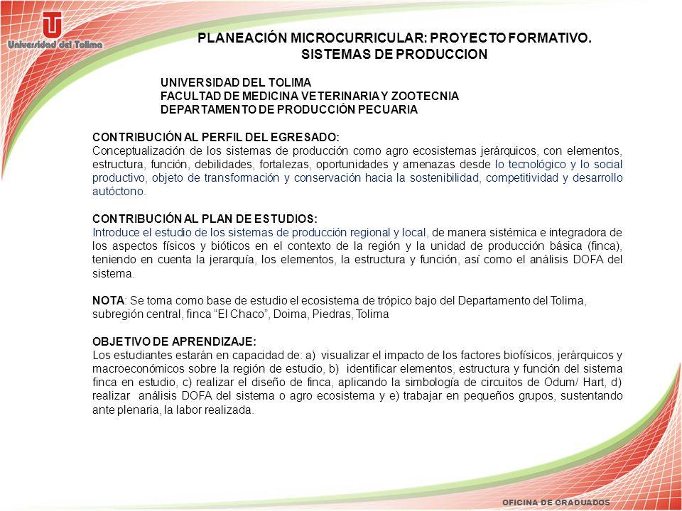 OFICINA DE GRADUADOS PLANEACIÓN MICROCURRICULAR: PROYECTO FORMATIVO. SISTEMAS DE PRODUCCION UNIVERSIDAD DEL TOLIMA FACULTAD DE MEDICINA VETERINARIA Y