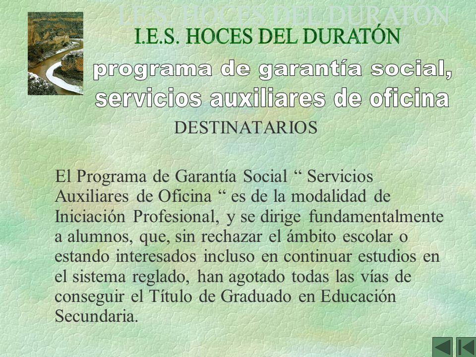 DESTINATARIOS El Programa de Garantía Social Servicios Auxiliares de Oficina es de la modalidad de Iniciación Profesional, y se dirige fundamentalment