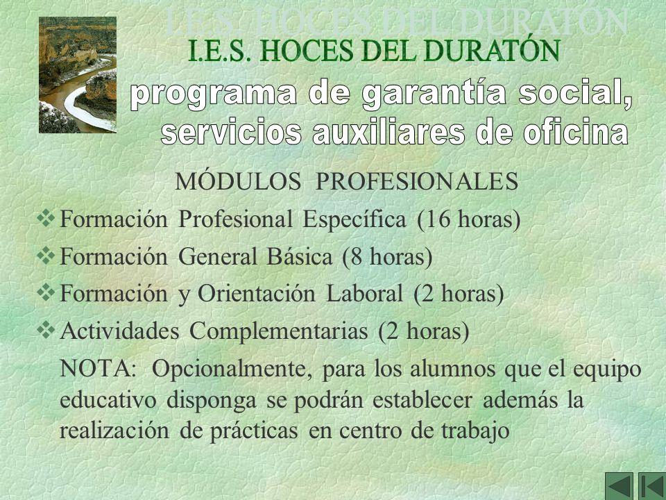 MÓDULOS PROFESIONALES Formación Profesional Específica (16 horas) Formación General Básica (8 horas) Formación y Orientación Laboral (2 horas) Activid