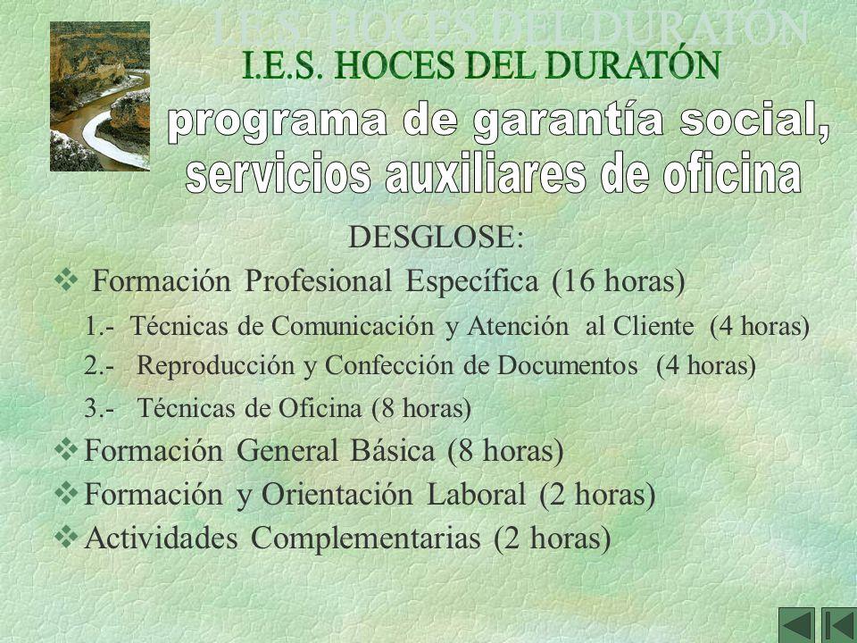 DESGLOSE: Formación Profesional Específica (16 horas) 1.- Técnicas de Comunicación y Atención al Cliente (4 horas) 2.- Reproducción y Confección de Do