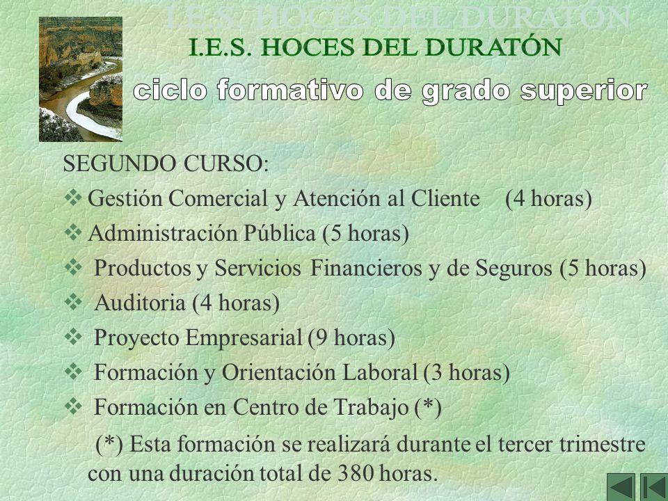 SEGUNDO CURSO: Gestión Comercial y Atención al Cliente (4 horas) Administración Pública (5 horas) Productos y Servicios Financieros y de Seguros (5 ho