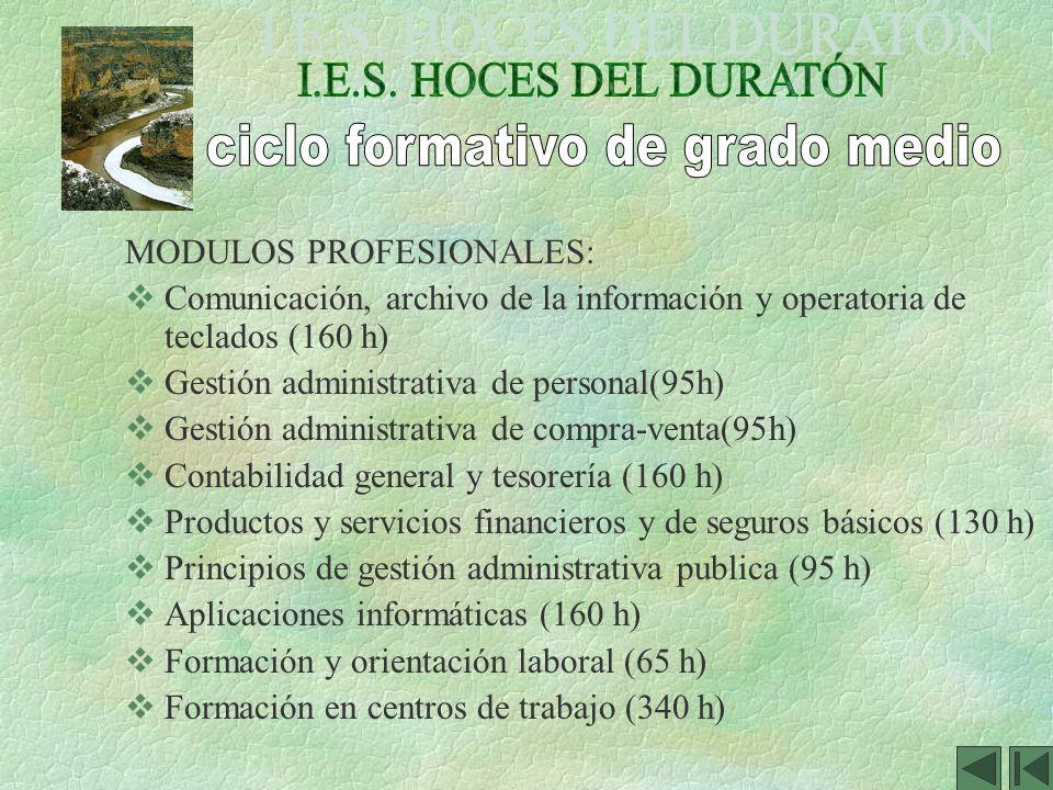 MODULOS PROFESIONALES: Comunicación, archivo de la información y operatoria de teclados (160 h) Gestión administrativa de personal(95h) Gestión admini