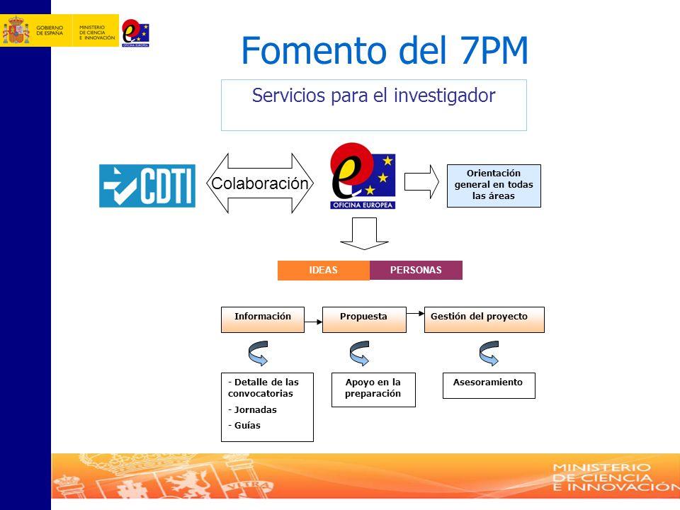 Fomento del 7PM PropuestaGestión del proyecto Apoyo en la preparación Asesoramiento - Detalle de las convocatorias - Jornadas - Guías Información PERS