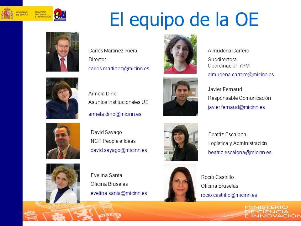 El equipo de la OE Rocío Castrillo Oficina Bruselas rocio.castrillo@micinn.es Carlos Martínez Riera Director carlos.martinez@micinn.es Almudena Carrer
