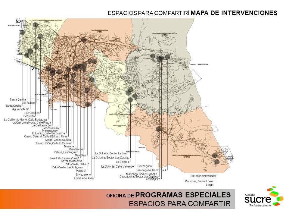 OFICINA DE PROGRAMAS ESPECIALES ESPACIOS PARA COMPARTIR ESPACIOS PARA COMPARTIR | MAPA DE INTERVENCIONES