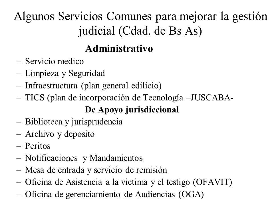 Algunos Servicios Comunes para mejorar la gestión judicial (Cdad. de Bs As) Administrativo –Servicio medico –Limpieza y Seguridad –Infraestructura (pl
