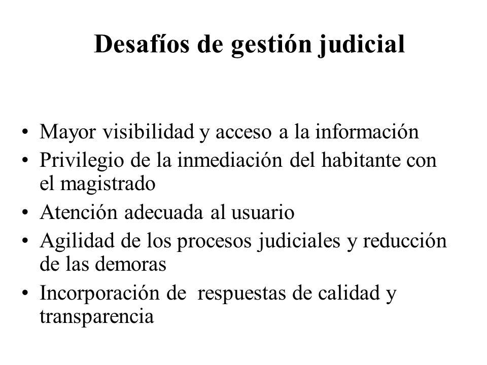 Desafíos de gestión judicial Mayor visibilidad y acceso a la información Privilegio de la inmediación del habitante con el magistrado Atención adecuad