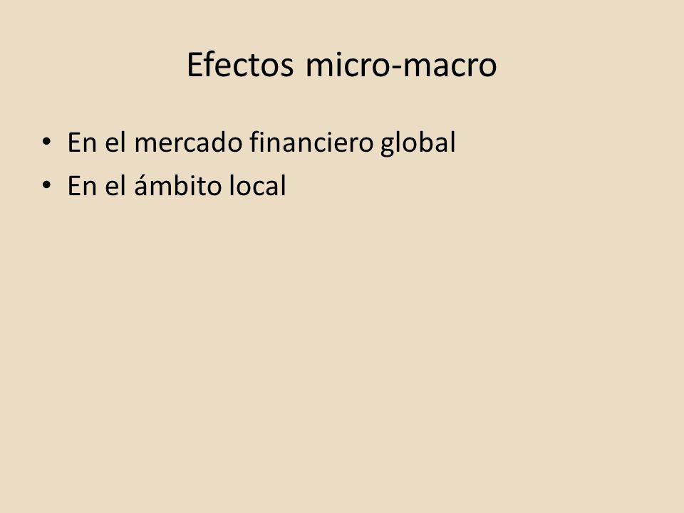 Efectos micro-macro En el mercado financiero global En el ámbito local