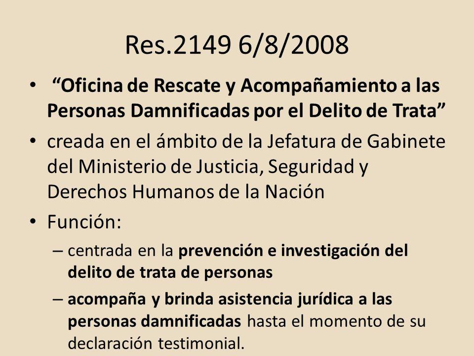 Res.2149 6/8/2008 Oficina de Rescate y Acompañamiento a las Personas Damnificadas por el Delito de Trata creada en el ámbito de la Jefatura de Gabinet