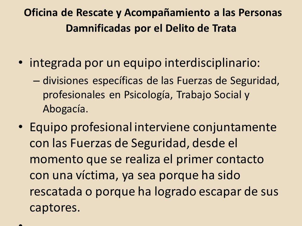 Oficina de Rescate y Acompañamiento a las Personas Damnificadas por el Delito de Trata integrada por un equipo interdisciplinario: – divisiones especí