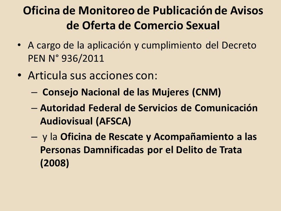 Oficina de Monitoreo de Publicación de Avisos de Oferta de Comercio Sexual A cargo de la aplicación y cumplimiento del Decreto PEN N° 936/2011 Articul