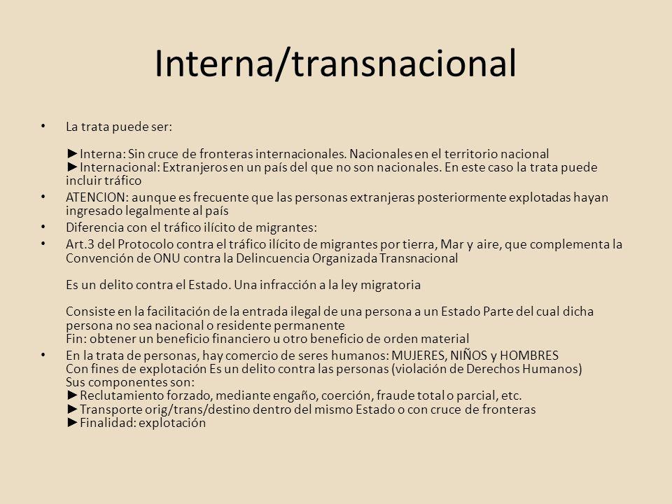 Interna/transnacional La trata puede ser: Interna: Sin cruce de fronteras internacionales. Nacionales en el territorio nacional Internacional: Extranj