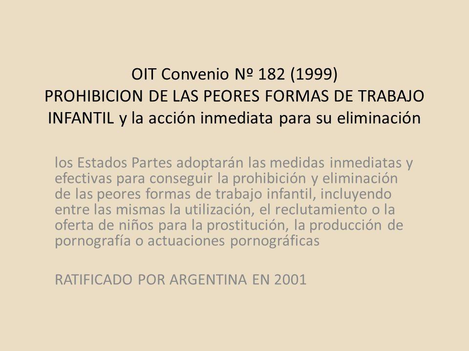 OIT Convenio Nº 182 (1999) PROHIBICION DE LAS PEORES FORMAS DE TRABAJO INFANTIL y la acción inmediata para su eliminación los Estados Partes adoptarán