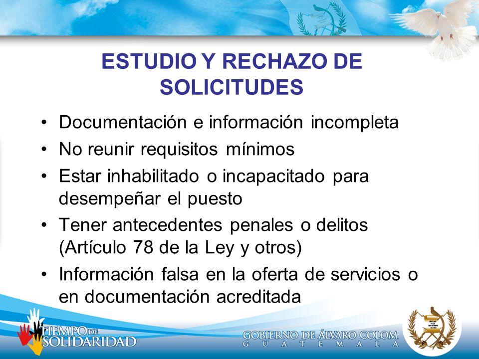 ESTUDIO Y RECHAZO DE SOLICITUDES Documentación e información incompleta No reunir requisitos mínimos Estar inhabilitado o incapacitado para desempeñar