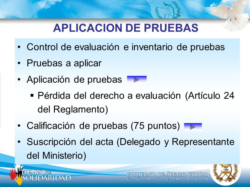 APLICACION DE PRUEBAS Control de evaluación e inventario de pruebas Pruebas a aplicar Aplicación de pruebas Pérdida del derecho a evaluación (Artículo