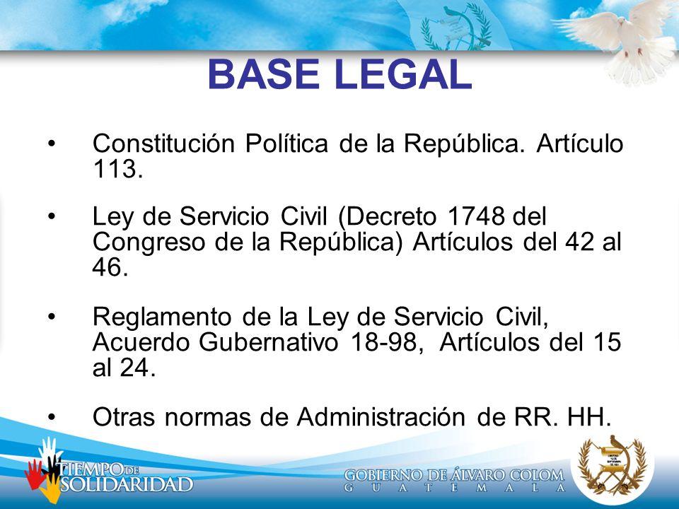 BASE LEGAL Constitución Política de la República. Artículo 113. Ley de Servicio Civil (Decreto 1748 del Congreso de la República) Artículos del 42 al