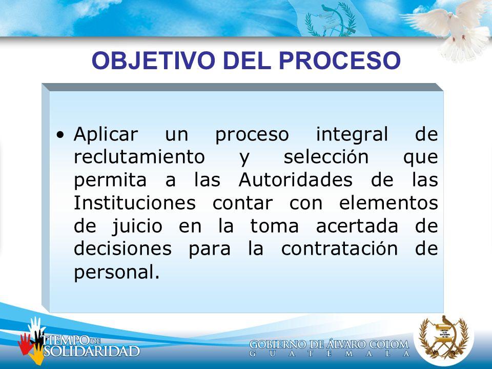 OBJETIVO DEL PROCESO Aplicar un proceso integral de reclutamiento y selecci ó n que permita a las Autoridades de las Instituciones contar con elemento