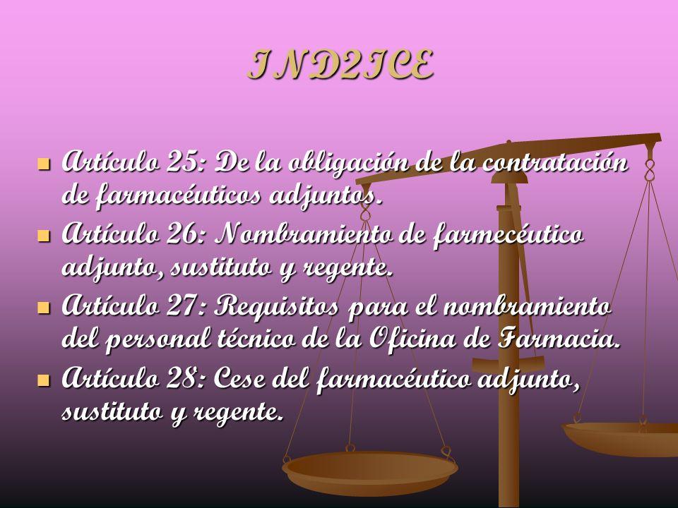 IND2ICE Artículo 25: De la obligación de la contratación de farmacéuticos adjuntos. Artículo 25: De la obligación de la contratación de farmacéuticos