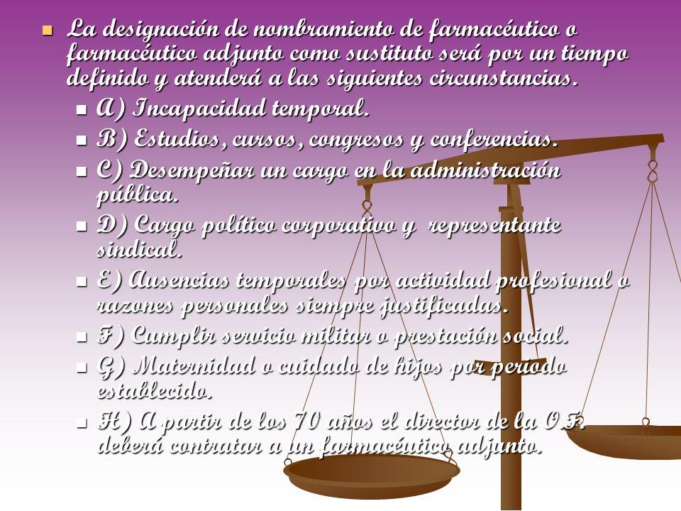 La designación de nombramiento de farmacéutico o farmacéutico adjunto como sustituto será por un tiempo definido y atenderá a las siguientes circunsta